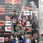Valkenswaard MX1 podium: Cairoli, Ramon, and Phillipaerts.