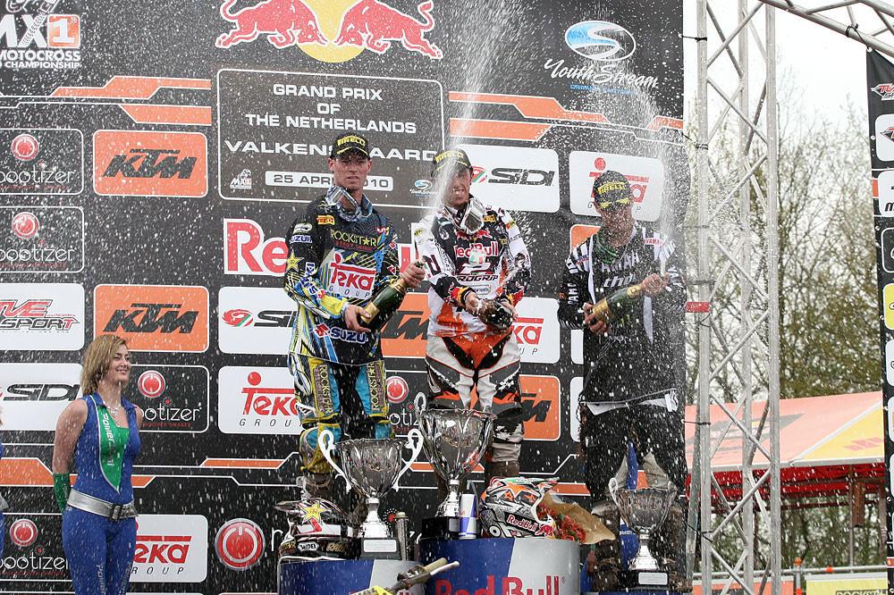 Valkenswaard MX1 podium: Cairoli, Ramon, and Phillipaerts. - GP Motocross: Valkenswaard - Motocross Pictures - Vital MX