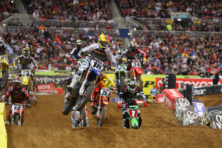Davi Millsaps nailed the holeshot in the Supercross main event.