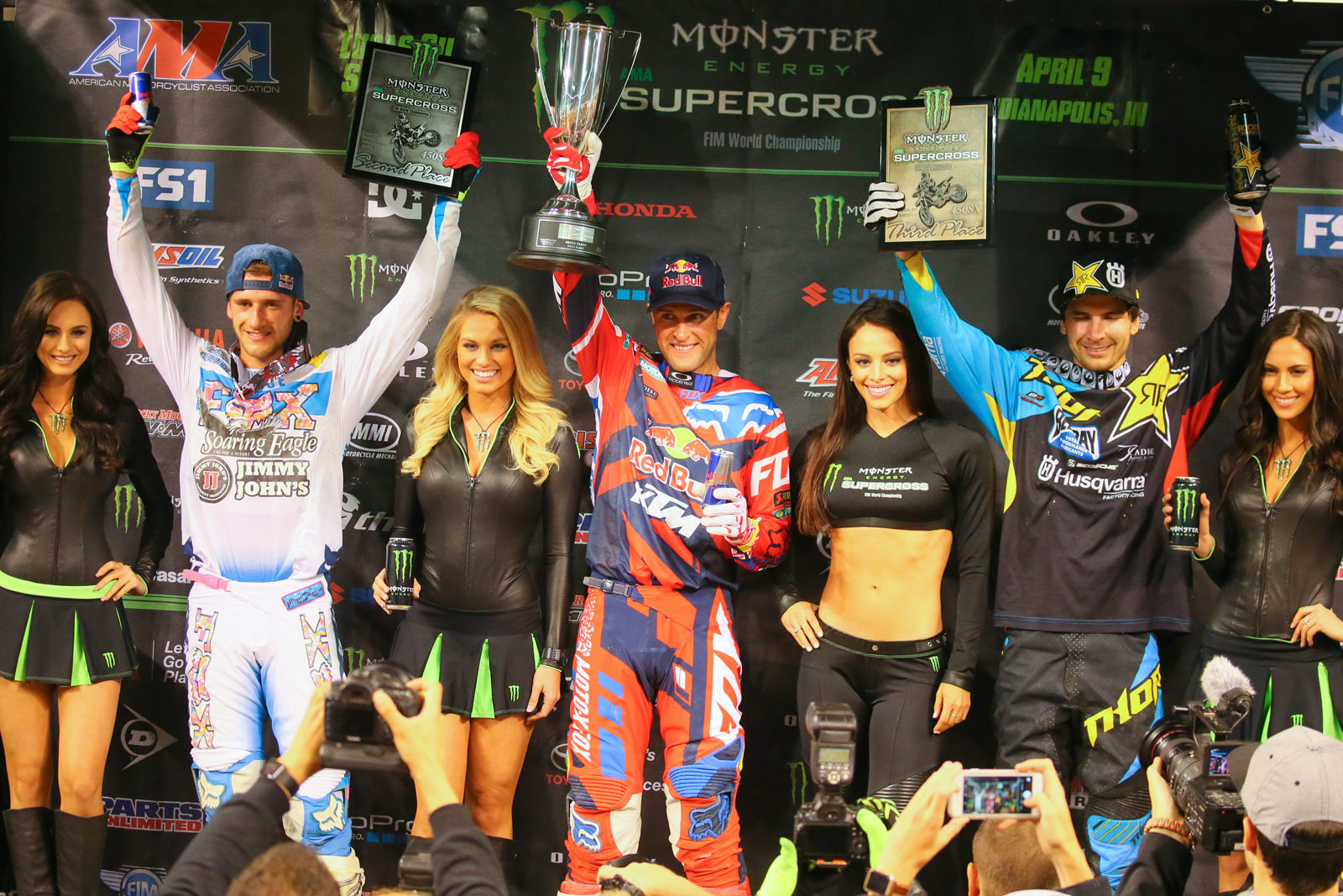 Ryan Dungey (1st), Ken Roczen (2nd), and Jason Anderson (3rd) - Photo Blast: Indianapolis - Motocross Pictures - Vital MX