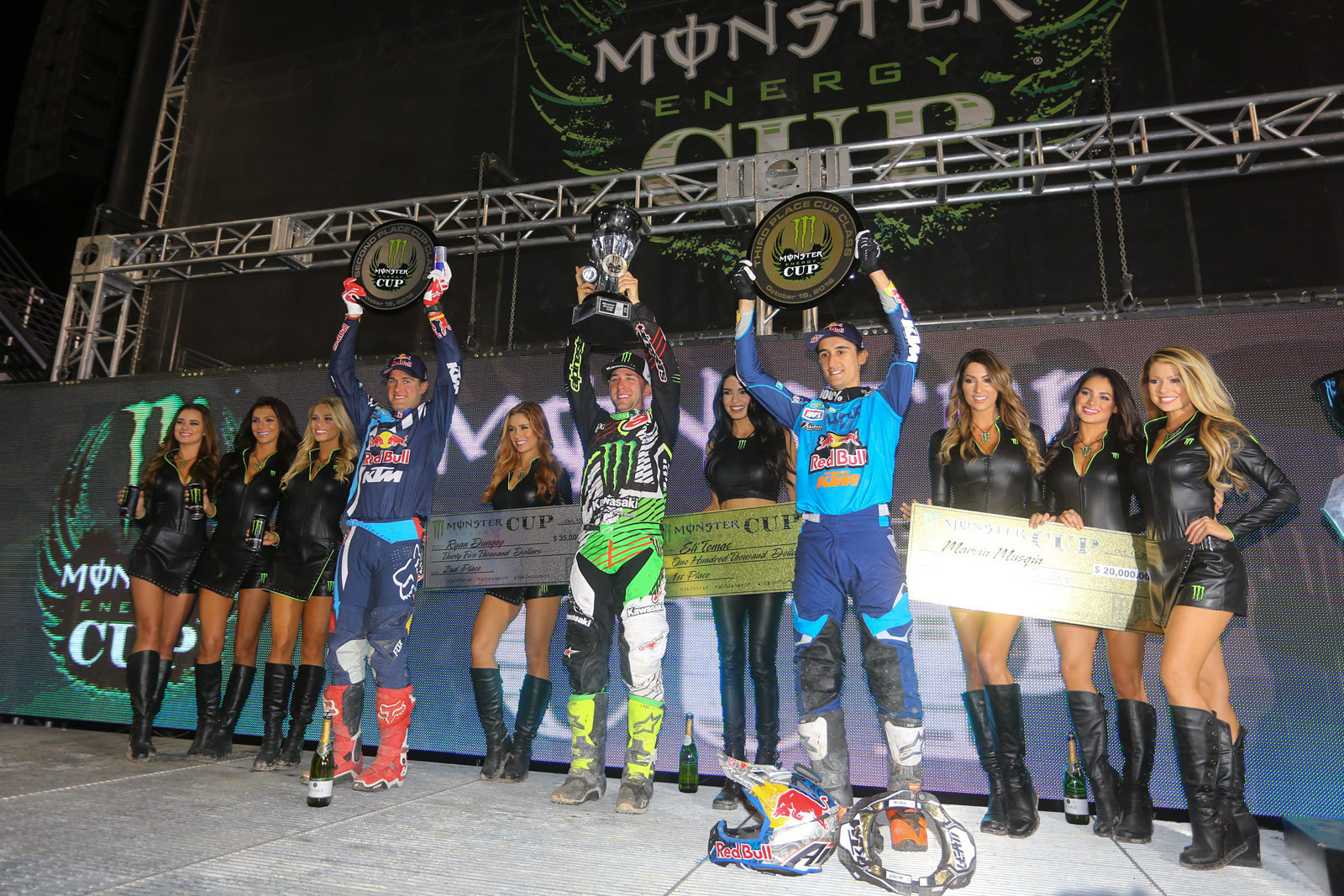 Eli Tomac (1st), Ryan Dungey (2nd), and Marvin Musquin (3rd) - Photo Blast: Monster Energy Cup - Motocross Pictures - Vital MX
