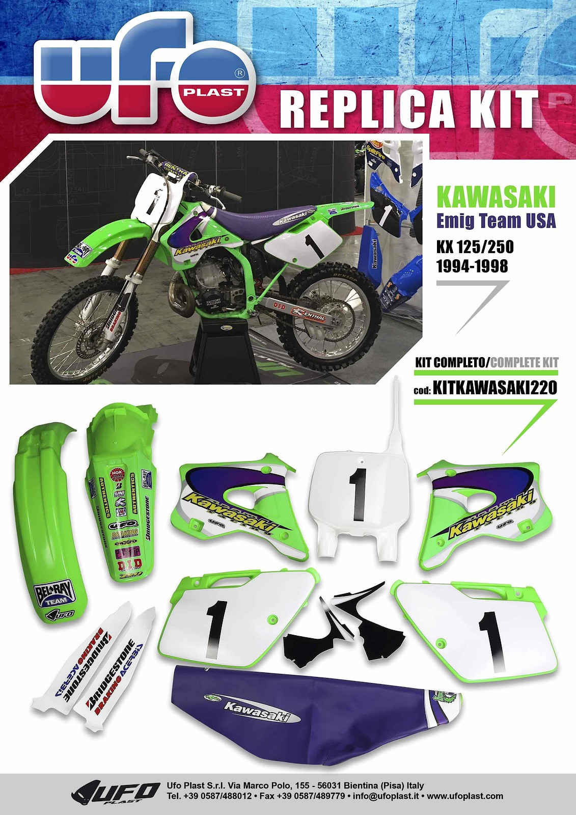 UFO Complete Retro Kits - Kawasaki 96-98 - UFO Plast USA - Motocross Pictures - Vital MX