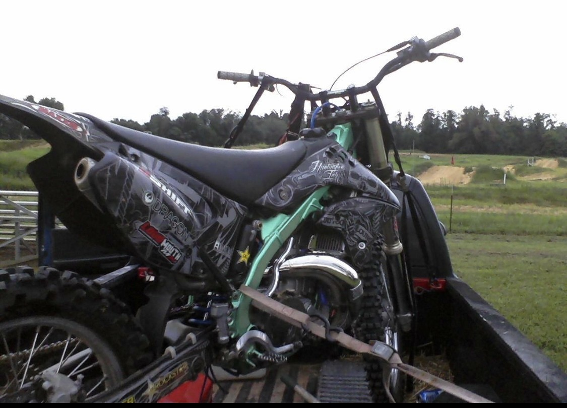 2007 kx 250 with eel green metallic paint and 2008 kx250f shrouds
