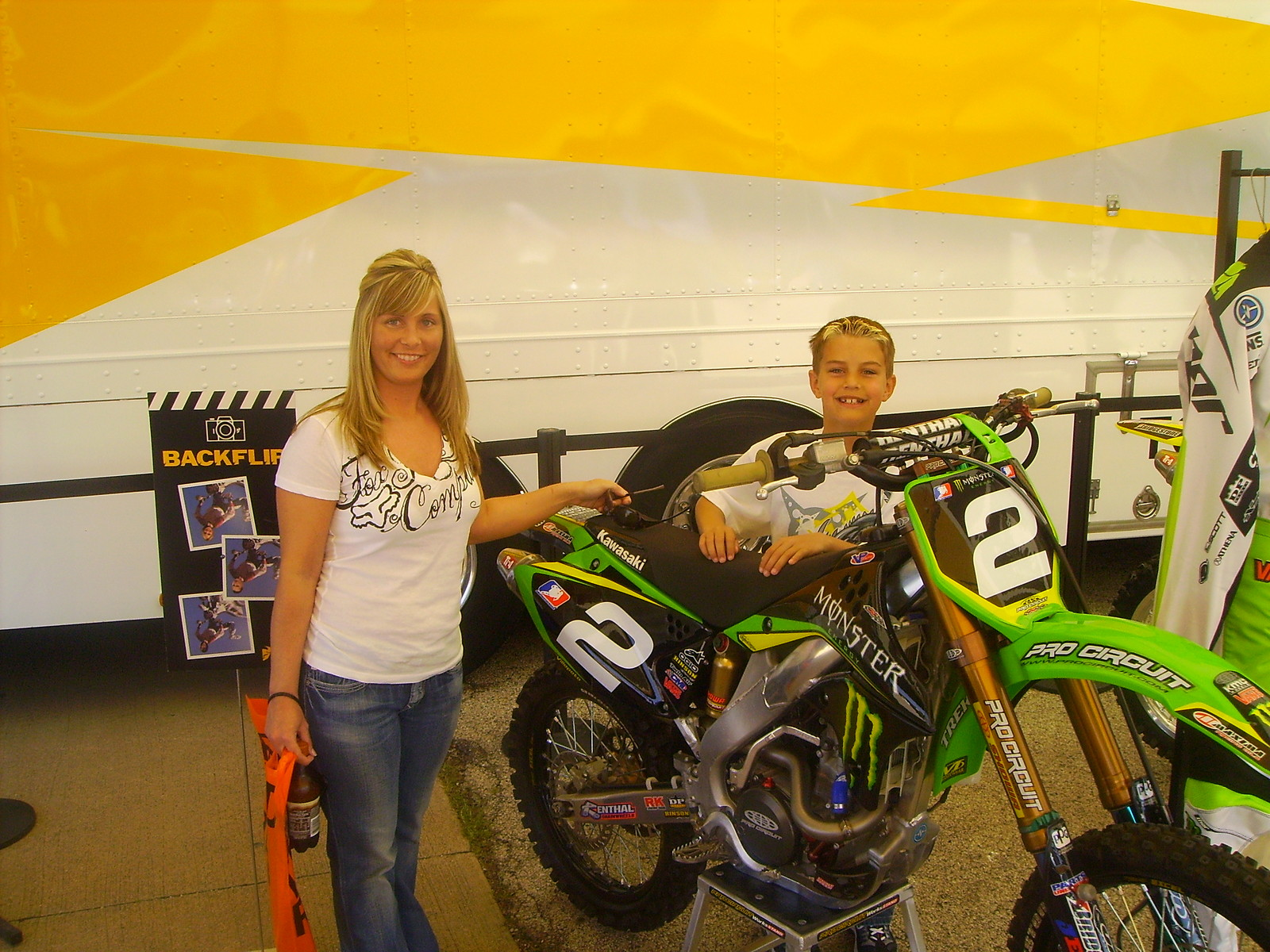 Wife and nephew with RV's Kawi - Slim Bill - Motocross Pictures - Vital MX
