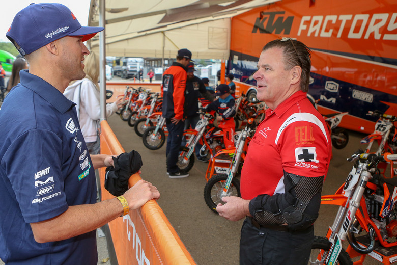 Timmy Weigand (left) has one of his minions participating in the KTM Junior Supercross Challenge. Doc Bodnar (right) found a good way to repurpose a kids knee brace for his injured arm.