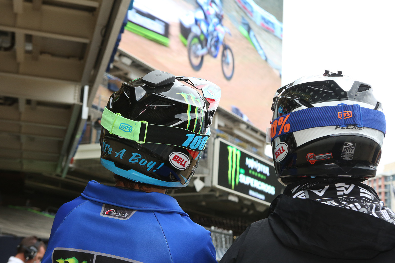 Aaron Plessinger's new Bell helmet (left) also featured a gender reveal for the new addition to the family.
