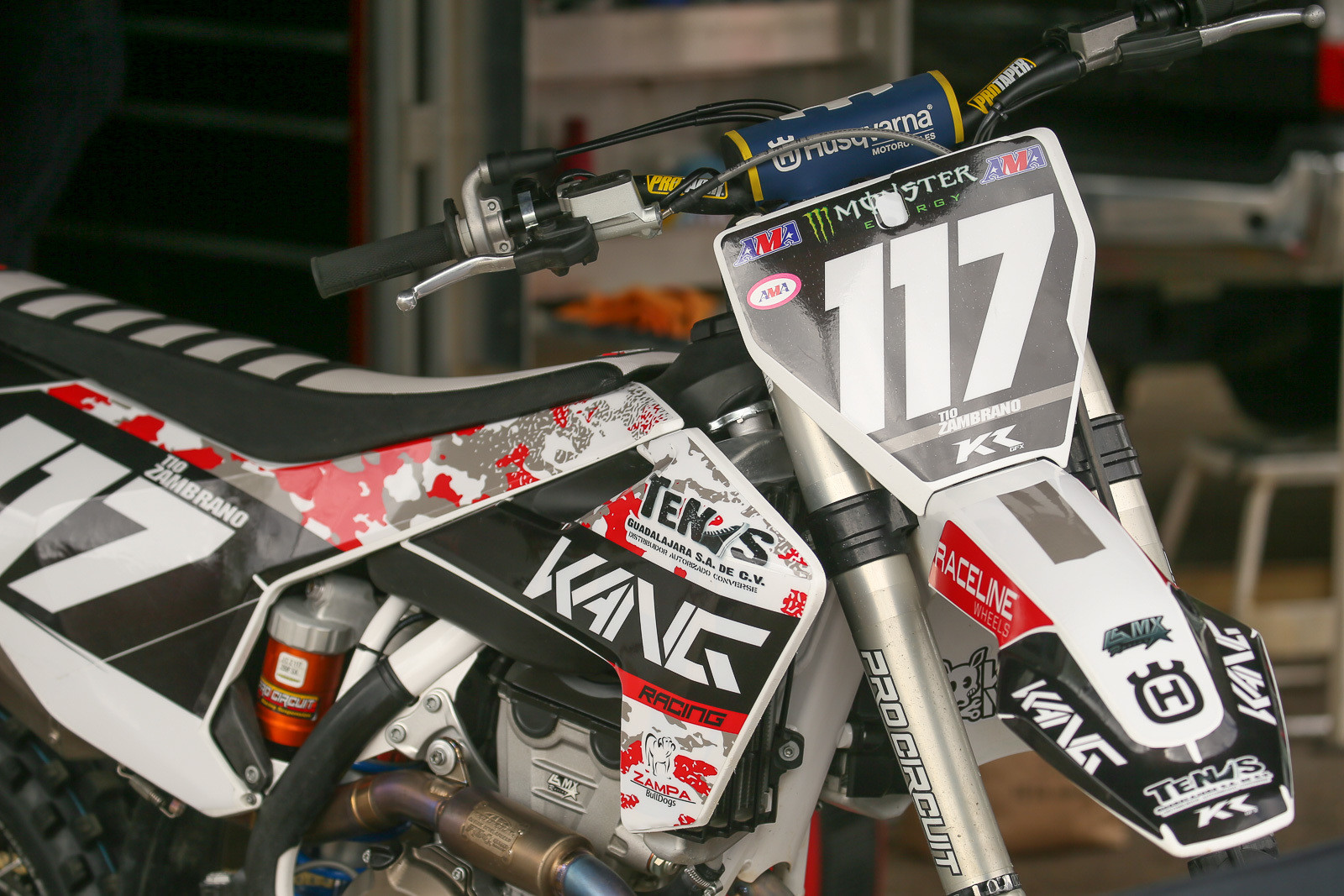 Julio Zambrano's KTM has a unique camo theme.