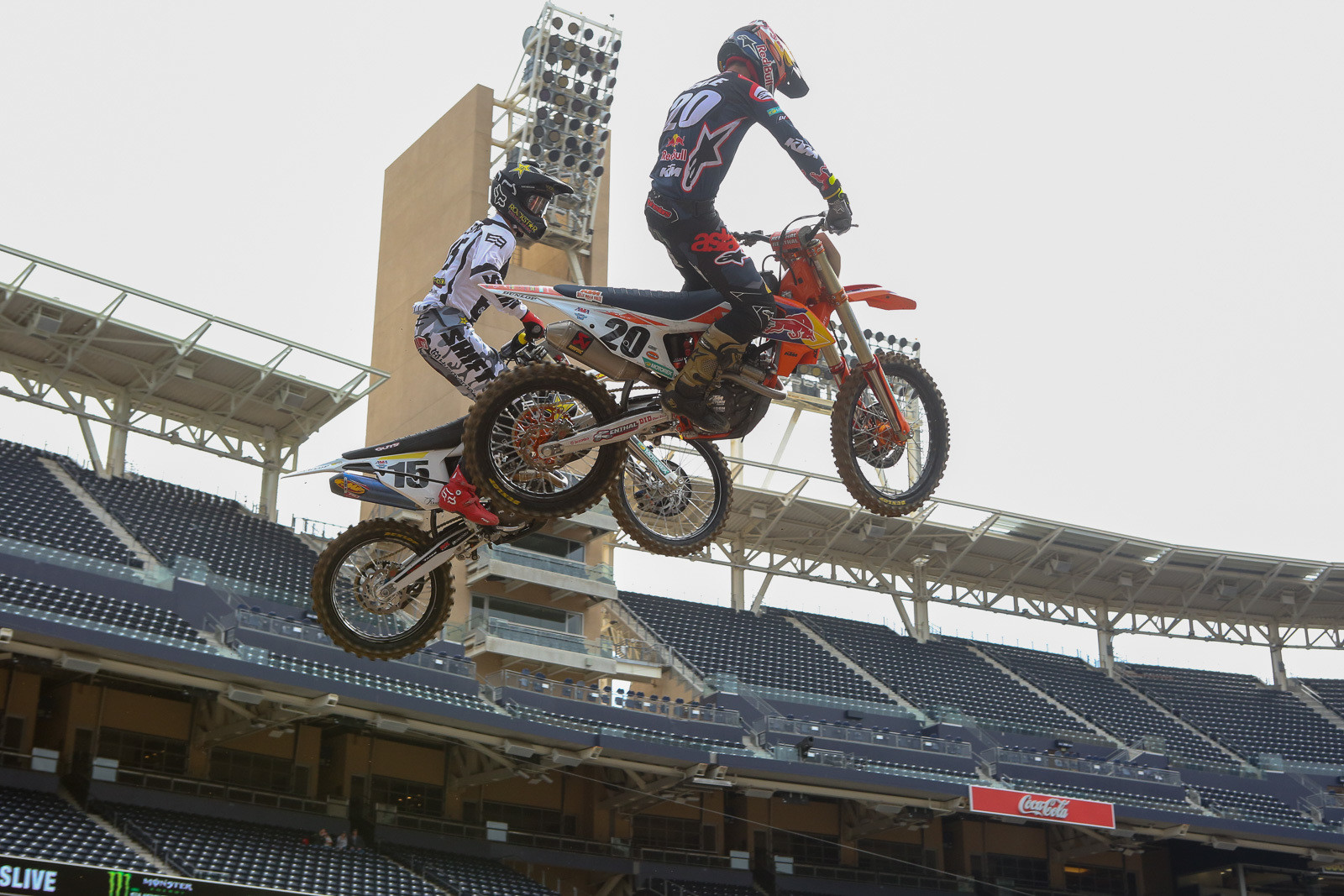 Dean Wilson keeping an eye on Broc Tickle during qualifying.
