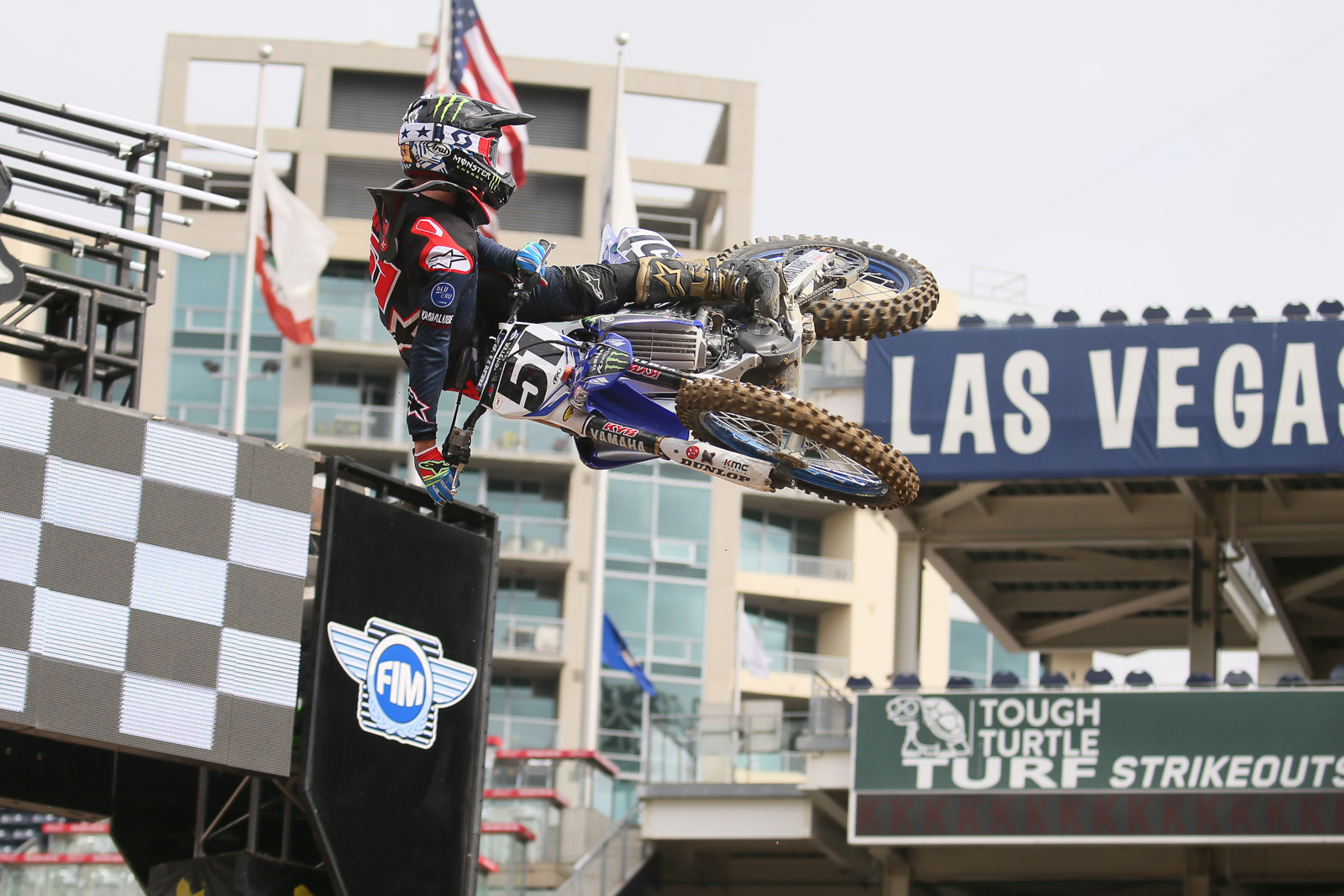Justin Barcia getting twisted over the finish line jump.