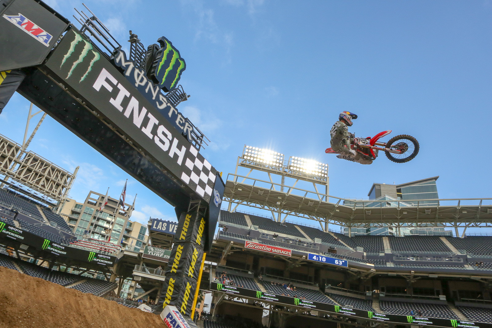 Ken Roczen getting stylish over the finish line jump. He's third on the time sheets.
