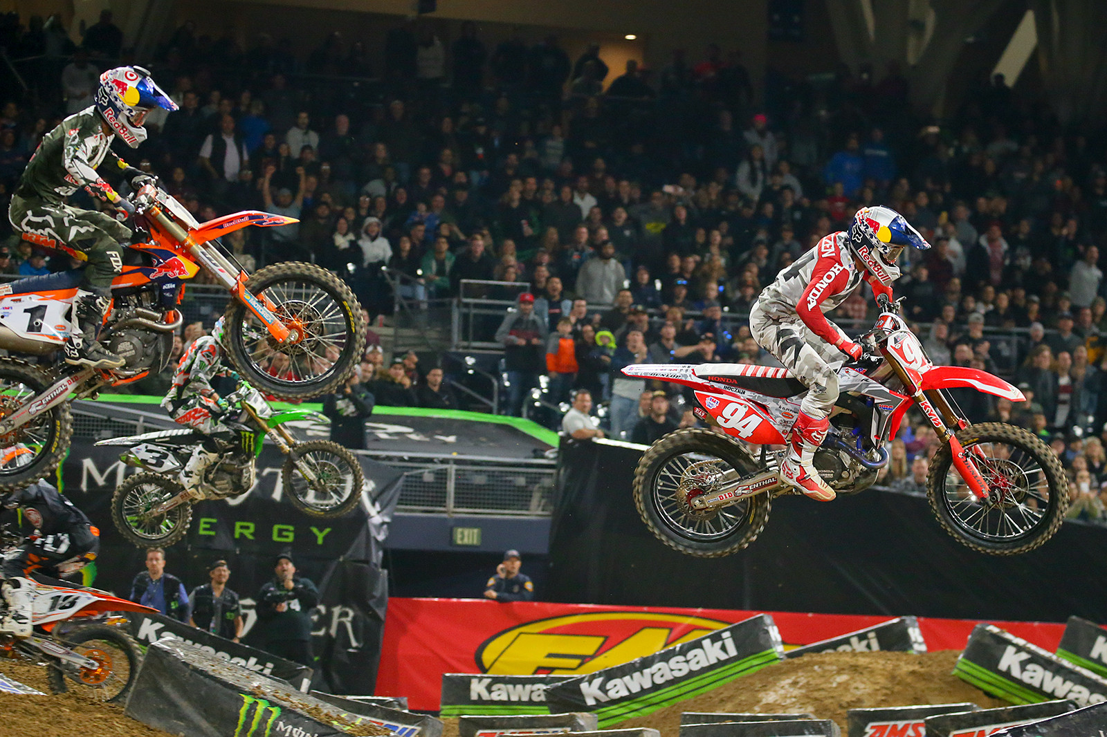 After seeing Ken Roczen obliterate the field at A1, Ryan Dungey came back strong to put the pressure on Kenny in San Diego. While he finished in second spot, he showed that he was more than game to give him a fight for the title. But...we're not sure we've seen the same Ryan since Kenny's crash.
